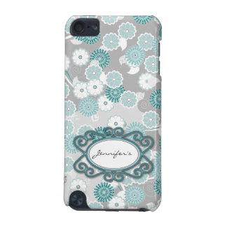 Pretty Floral Pattern in Teal, Aqua and Grey iPod Touch 5G Covers