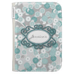 Pretty Floral Pattern in Teal, Aqua and Grey Kindle Folio Case