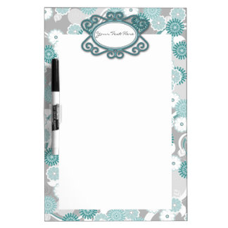 Pretty Floral Pattern in Teal, Aqua and Grey Dry-Erase Board