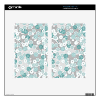 Pretty Floral Pattern in Teal, Aqua and Grey Kindle Fire Decals