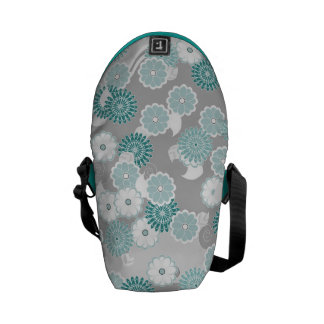 Pretty Floral Pattern in Teal, Aqua and Grey Messenger Bags