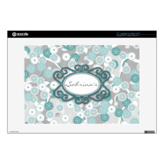 "Pretty Floral Pattern in Teal Aqua and Grey Decal For 13"" Laptop"