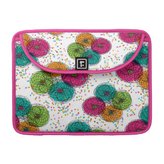 Pretty Floral Pattern in Teal Orange Pink Green Sleeves For MacBook Pro