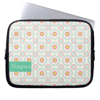 Pretty Floral Pattern Laptop Sleeve with Name