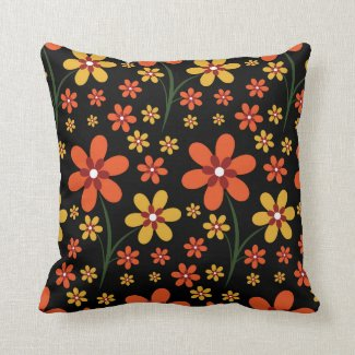 Pretty Floral Pattern Orange Yellow Flowers Black Pillow