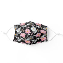 Pretty Floral Pattern Pink, White, Wild Flowers Adult Cloth Face Mask