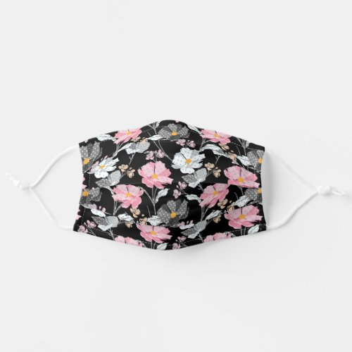 Pretty Floral Pattern Pink White Wild Flowers Cloth Face Mask