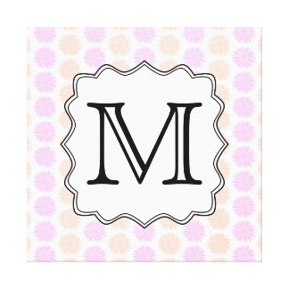 Pretty Floral Pattern with Custom Monogram Letter. Gallery Wrapped Canvas