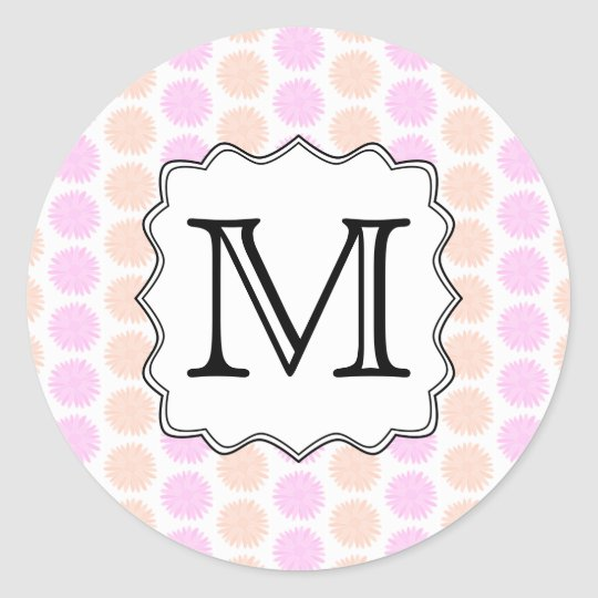 Pretty Floral Pattern with Custom Monogram Letter. Classic Round Sticker