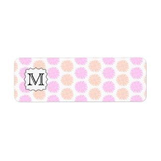 Pretty Floral Pattern with Custom Monogram Letter Custom Return Address Labels