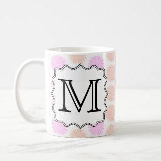 Pretty Floral Pattern with Custom Monogram Letter. Coffee Mug