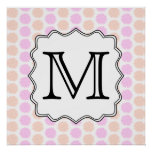 Pretty Floral Pattern with Custom Monogram Letter. Poster