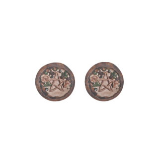Pretty Floral Pentacle Witch Wiccan Pagan Earrings