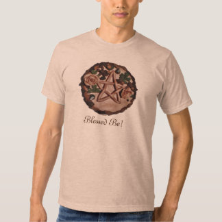 Pretty Floral Pentacle Witch Wiccan Pagan (Front) T Shirt