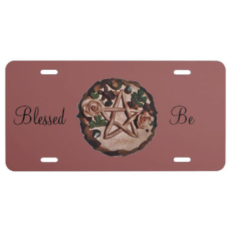 Pretty Floral Pentacle Witch Wiccan Pagan License Plate