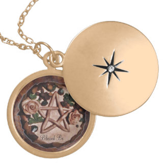 Pretty Floral Pentacle Witch Wiccan Pagan Locket Necklace