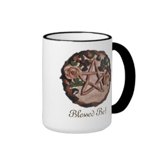 Pretty Floral Pentacle Witch Wiccan Pagan Ringer Mug