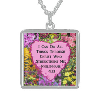 PRETTY FLORAL PHILIPPIANS 4:13 PHOTO DESIGN STERLING SILVER NECKLACE