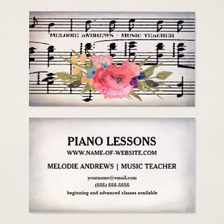 Pretty Floral Piano Teacher Vintage Sheet of Music Business Card