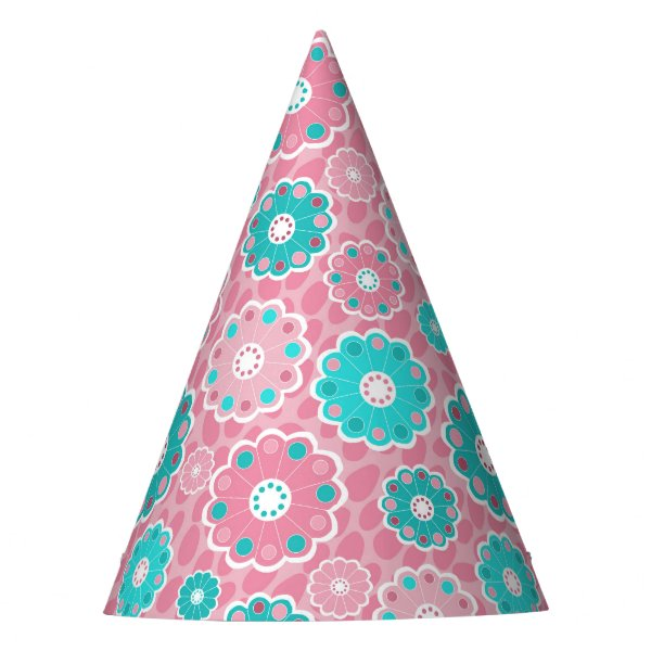 Pretty floral pink and aqua girly party hat