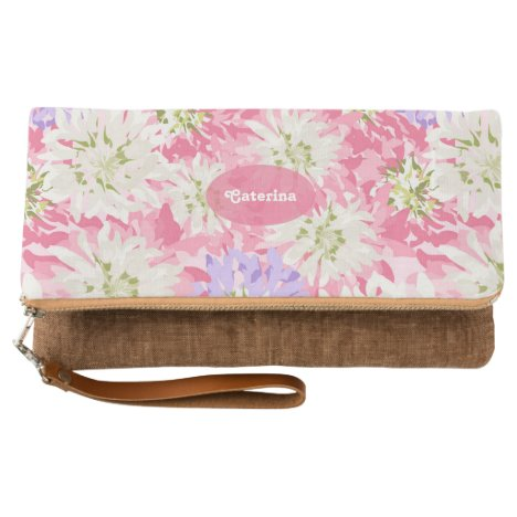 Pretty floral pink and mauve monogram clutch