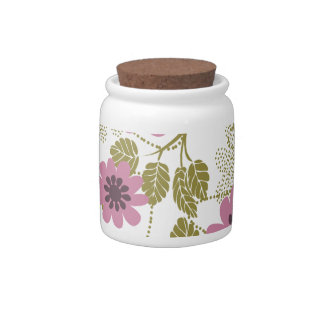 pretty floral pink and purple candy jar