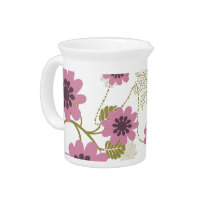pretty floral pink and purple drink pitcher