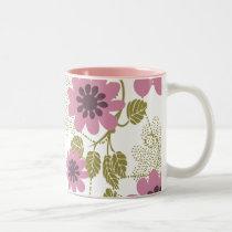 pretty floral pink and purple Two-Tone coffee mug
