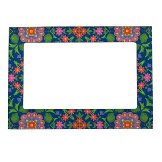 Pretty Floral Rangoli, Deep Blue Magnetic Frame
