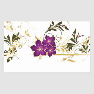Pretty Floral Rectangular Sticker
