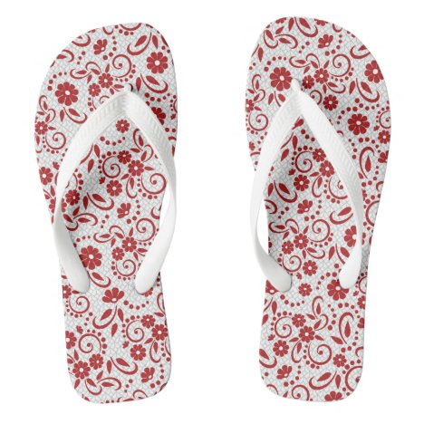 Pretty floral red and white flip flops