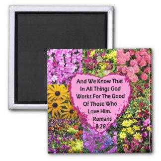 PRETTY FLORAL ROMANS 8:28 SCRIPTURE VERSE MAGNET