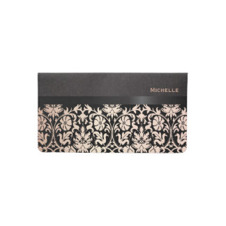 Pretty Floral Rose and Black Damask Checkbook Cover
