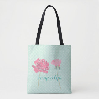 Pretty Floral Scene on Teal Background Tote Bag
