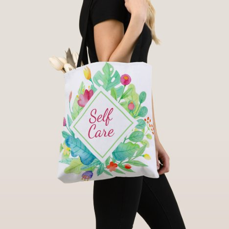 Pretty Floral Self Care with Leaves Flowers Colors Tote Bag