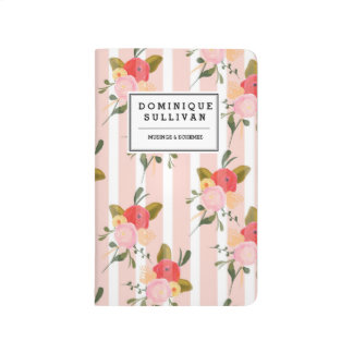 Pretty Floral Striped Pattern Personalized Journal