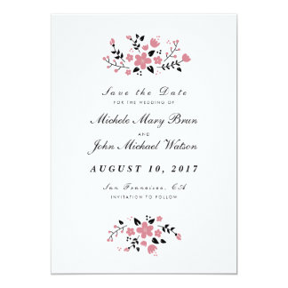 Pretty Floral Stylish Save The Date Flat Card