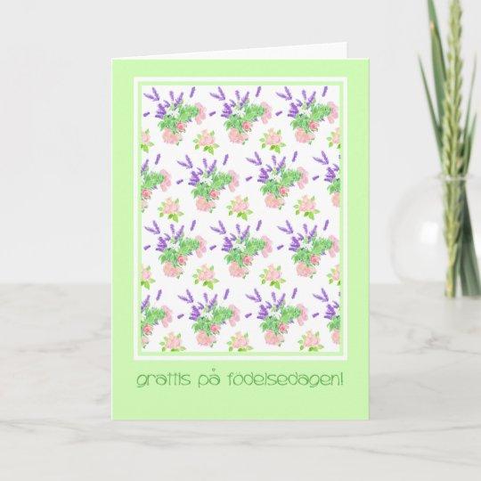 Pretty Floral Swedish Language Greeting Birthday Card Zazzle