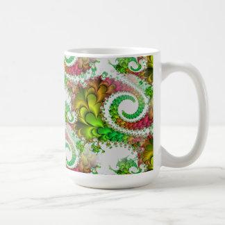 Pretty Floral Swirls Green Pink Fractal Art Coffee Mug