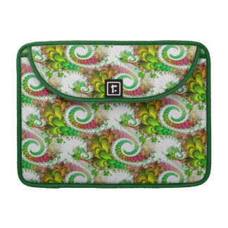 Pretty Floral Swirls Green Pink Fractal Art Sleeves For MacBooks
