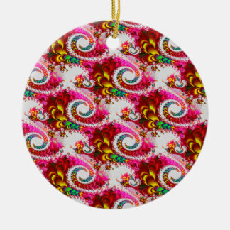 Pretty Floral Swirls Hot Pink Fractal Unique Gifts Ceramic Ornament