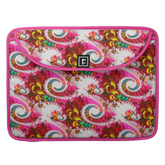 Pretty Floral Swirls Hot Pink Fractal Unique Gifts MacBook Pro Sleeves