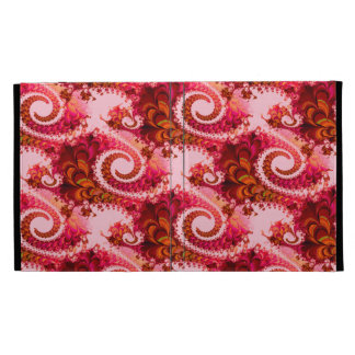 Pretty Floral Swirls Hot Pink Red Fractal Art iPad Case