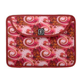 Pretty Floral Swirls Hot Pink Red Fractal Art Sleeve For MacBook Pro