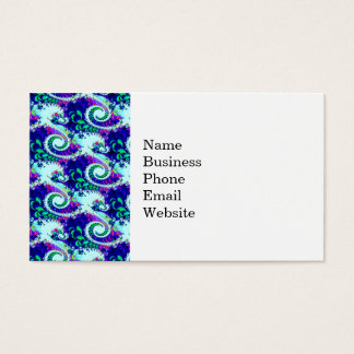 Pretty Floral Swirls Indigo Blue Fractal Art Business Card