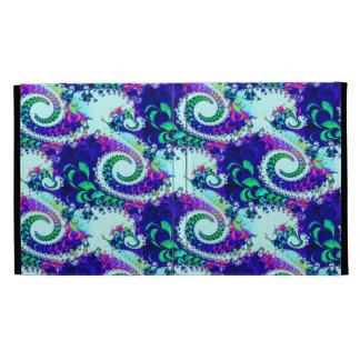 Pretty Floral Swirls Indigo Blue Fractal Art iPad Case