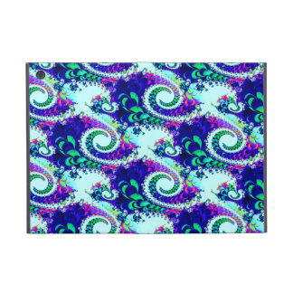 Pretty Floral Swirls Indigo Blue Fractal Art iPad Mini Cases