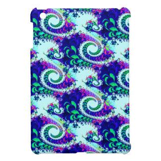 Pretty Floral Swirls Indigo Blue Fractal Art iPad Mini Covers
