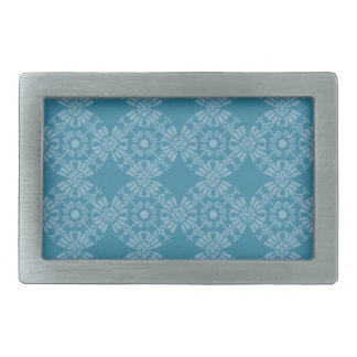 Pretty Floral Teal Pattern Rectangular Belt Buckle