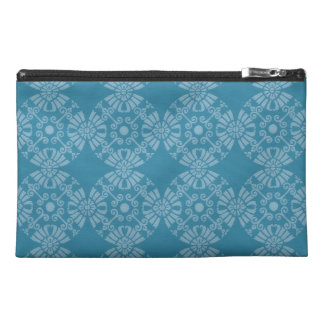 Pretty Floral Teal Pattern Travel Accessory Bag